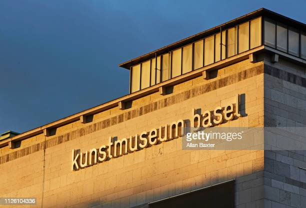 Sign of the 'Kunstmuseum Basel' in Basel at sunrise