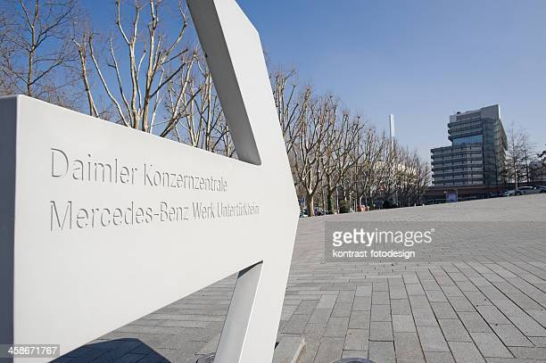 sign of the mercedes-benz headquarter, stuttgart, germany. - daimler ag stock photos and pictures
