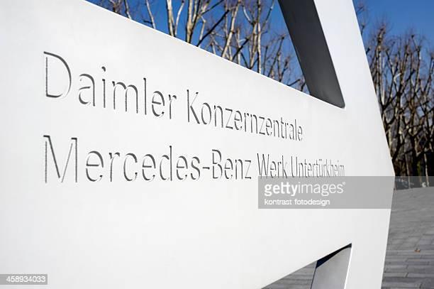 Zeichen der Mercedes-Benz headquarter, Stuttgart, Deutschland.