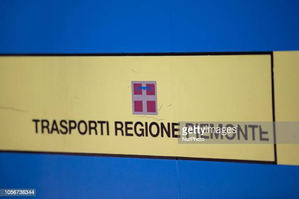 A sign of the public transport company of Piedmont Trasporti Regione Piemonte is seen on a bus in the capital of Piedmont in Northern Italy