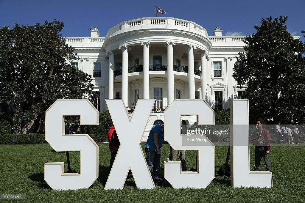 A sign of the South by South Lawn, a White House festival of ideas, art, and action, is seen October 3, 2016 at the South Lawn of the White House in Washington, DC. The White House hosts the event to call on Americans 'to discover their own way to make a positive difference in our country.'