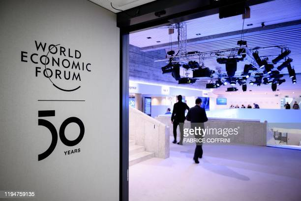 A sign of the World Economic Forum is seen at the Congress center ahead of the WEF's annual meeting in Davos on January 19 2020