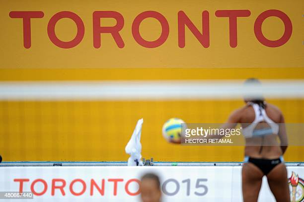 A sign of Toronto 2015 is seen during the Women's Beach Volleyball Preliminary between Argentina vs Trinidad and Tobago at the 2015 Pan American...