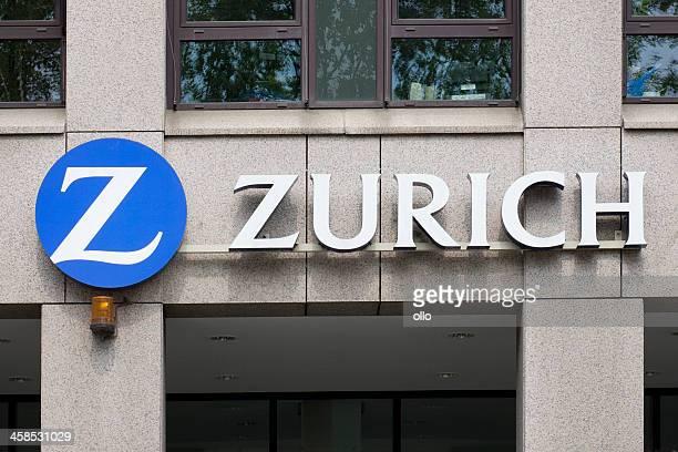 sinal de zurich financial services grupo em edifícios fachada - zurique - fotografias e filmes do acervo