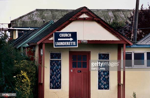 Sign on a chalet for the church and launderette Butlins holiday camp Skegness Butlins Skegness is a holiday camp located in Ingoldmells near Skegness...