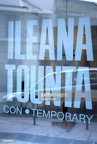 A sign on a glass window for the Ileana Tounta privately-owned contemporary art gallery