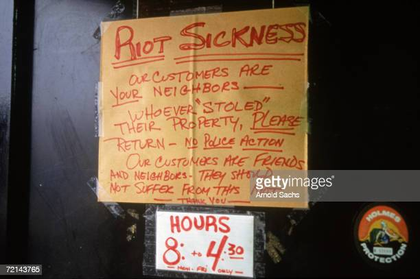 Sign on a shop doorway in the aftermath of the 1992 Los Angeles riots, which followed the beating of black motorist Rodney King by members of the...