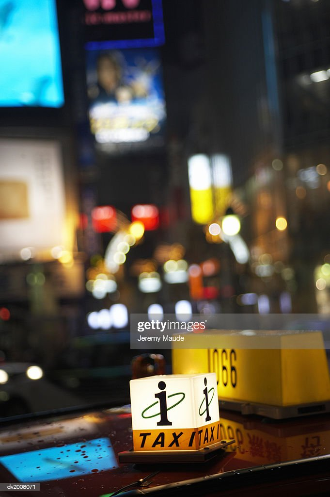 Sign on a Taxi, Japan : Stock Photo
