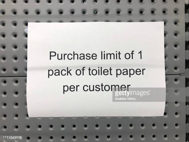sign on an empty supermarket shelf from panic buying during the coronavirus, covid-19 epidemic in australia - viral infection stock pictures, royalty-free photos & images