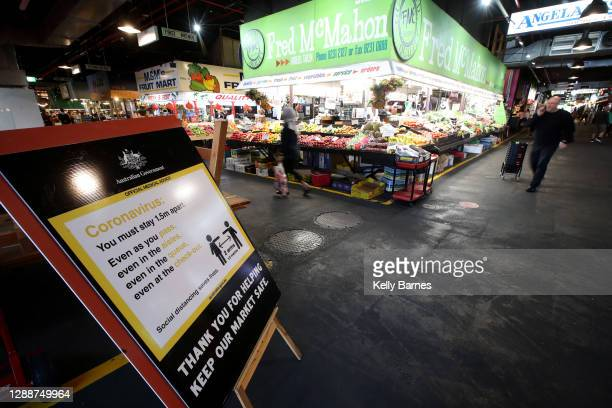 Sign on COVID-19 regulations is displayed at the Adelaide Central Market on December 01, 2020 in Adelaide, Australia. COVID-19 restrictions have...
