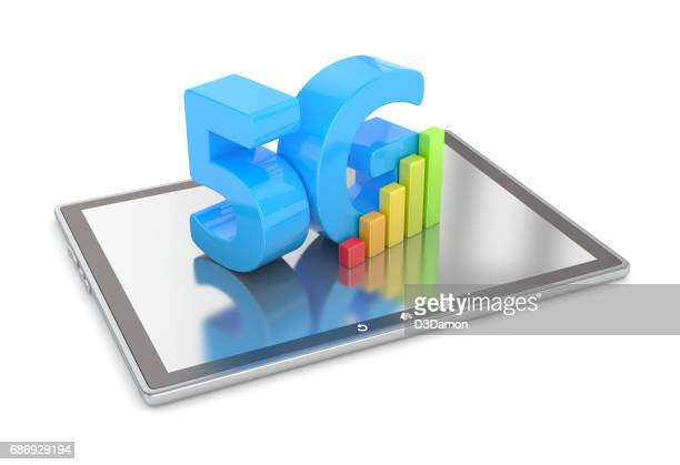 5G sign on digital tablet screen