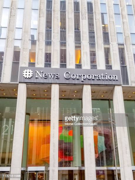 Sign on facade at entrance to office of News Corporation parent company of Fox News in Manhattan New York City New York February 6 2019