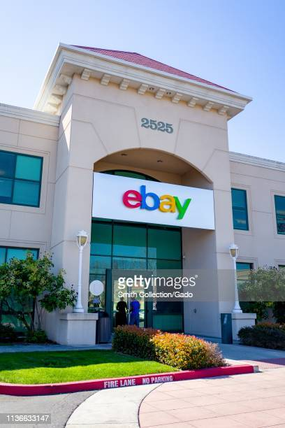 Sign on facade at headquarters of Internet auction company Ebay in the Silicon Valley San Jose California March 15 2019