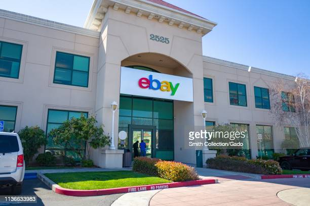 Sign on facade at headquarters of Internet auction company Ebay in the Silicon Valley, San Jose, California, March 15, 2019.