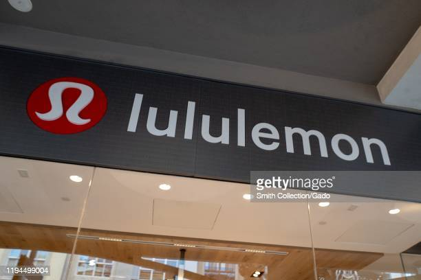 Sign on facade at Lululemon athleisure clothing store on Santana Row in the Silicon Valley, San Jose, California, December 14, 2019.