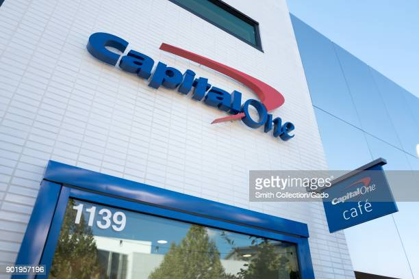 Sign on facade of CapitalOne cafe a combined cafe and banking center in downtown Walnut Creek California November 17 2017