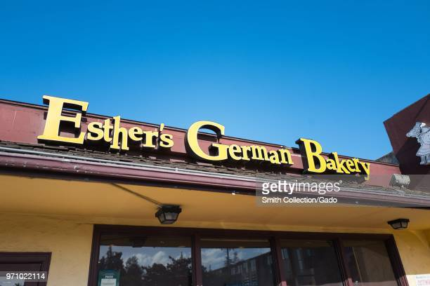 Sign on facade of Esther's German Bakery a German cuisine restaurant and bakery which is popular among technology workers and is known for being a...