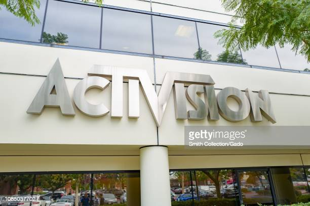 Sign on facade of office of videogame publisher Activision in the Silicon Beach area of Los Angeles, California, December 10, 2018.
