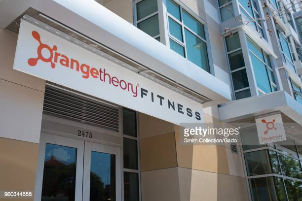 Sign on facade of OrangeTheory Fitness a gym focusing on High Intensity Interval Training in downtown Berkeley California May 17 2018