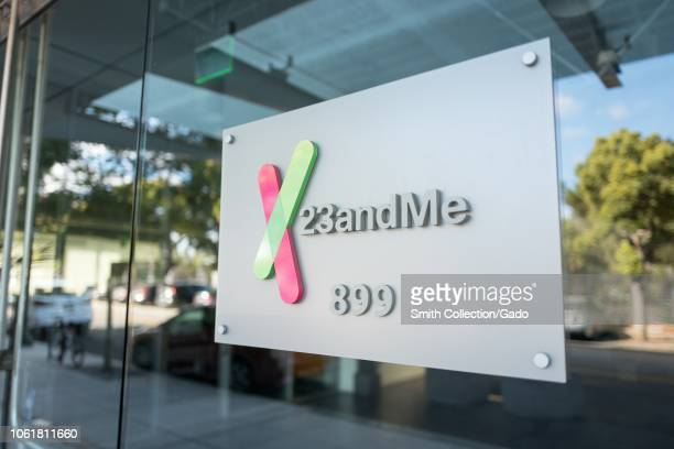 Sign on facade of the headquarters of personal genomics company 23AndMe in the Silicon Valley town of Mountain View California October 28 2018