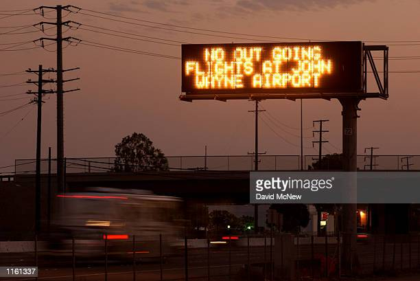A sign on freeway 55 announces that there are no outgoing flights at John Wayne Airport September 11 2001 in Santa Ana California in response to...