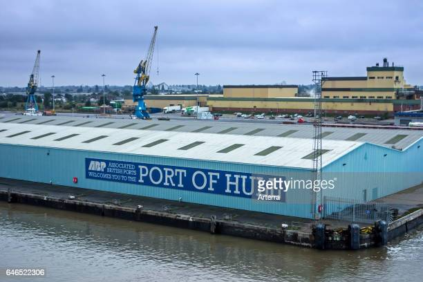Sign on hangar of the Associated British Ports / ABP in the port of Hull at Kingston upon Hull England UK