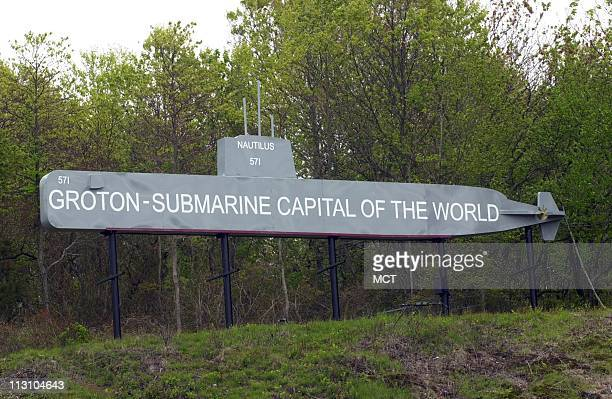 A sign on I95 proclaims Groton Connecticut as the 'Submarine Capital of the World' The nation's first submarine base in Groton is among those on a...