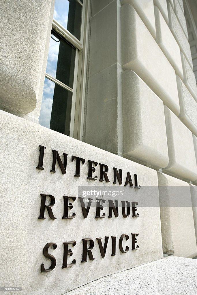 Sign on Internal Revenue Service building, Washington, DC : Stock Photo