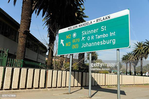 A sign on Nelson Mandela Rylaan Street in Pretoria to the Airport and Johannesburg Pertoria / Tshwane is one of the ten venues for the FIFA 2010...
