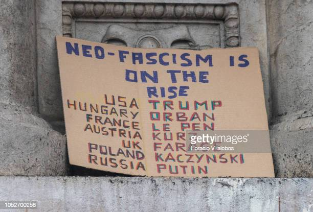 Sign on neofascism on display during a demonstration in Camoes square against Brazilian presidential candidate Jair Bolsonaro possible victory in...