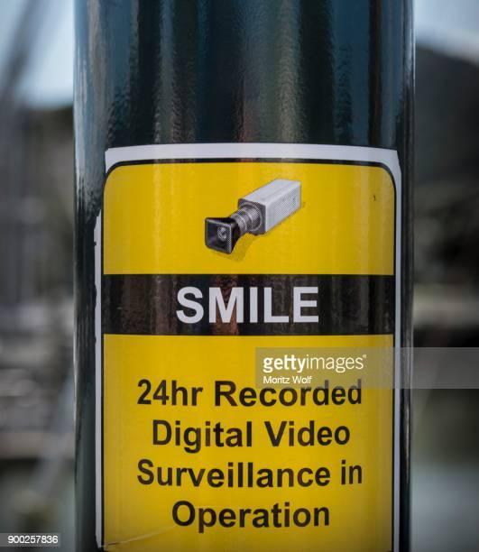 Sign on pillar, 24h video surveillance, Whangarei, Northland, New Zealand