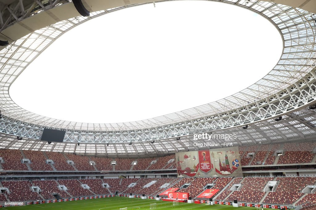 A sign on stage shows the route of the FIFA World Cup Trophy Tour before the start of the tour at Luzhniki stadium on September 9, 2017 in Moscow, Russia.