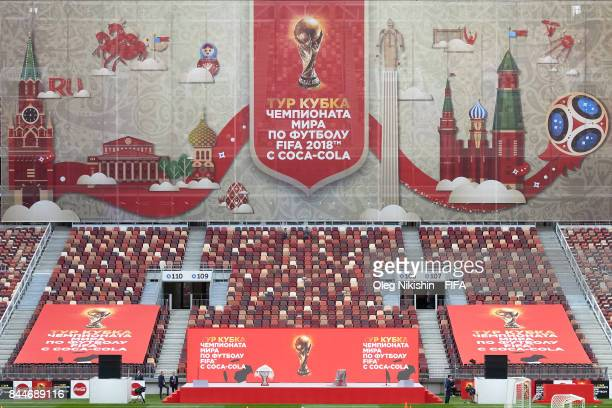 A sign on stage shows the route of the FIFA World Cup Trophy Tour before the start of the tour at Luzhniki stadium on September 9 2017 in Moscow...