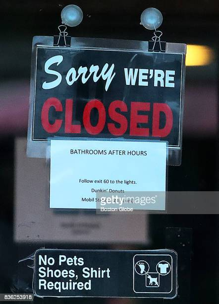 A sign on the door of a rest stop off of Route 95 southbound in Salisbury Mass Aug 16 2017