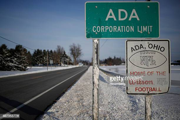 A sign on the edge of town advertises the Wilson Sporting Goods Co football manufacturing factory in Ada Ohio US on Monday Jan 26 2015 Super Bowl...