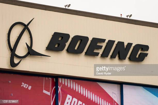 Sign on the exterior of Boeing's airplane production facility is seen on February 22, 2021 in Everett, Washington. Following Saturday's engine...