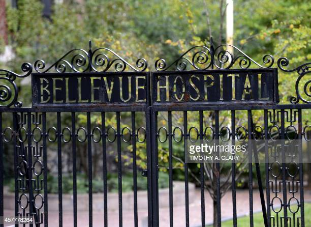 A sign on the gate for the entrance to Bellevue Hospital is viewed on October 24 2014 in New York the morning after it was confirmed that Craig...