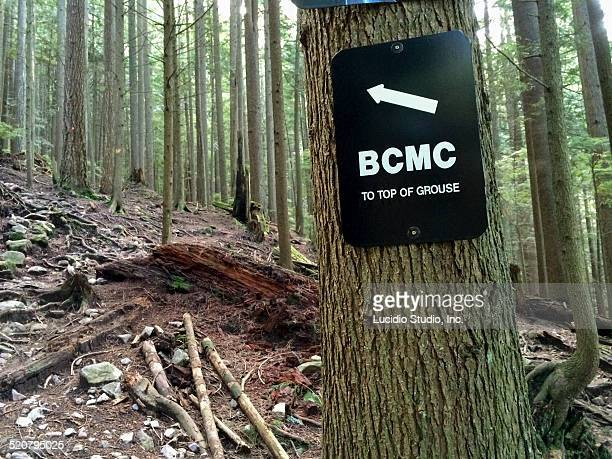 sign on the grouse grind north vancouver - montanhas north shore imagens e fotografias de stock