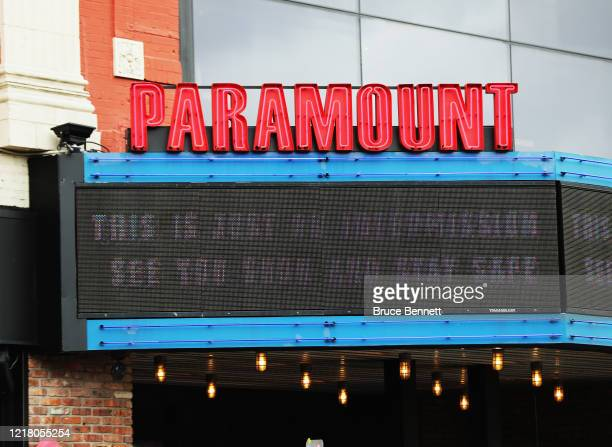 Sign on the marquee of the Paramount Theatre states that the theater is in 'intermission' on April 10, 2020 in Huntington, New York. According to...