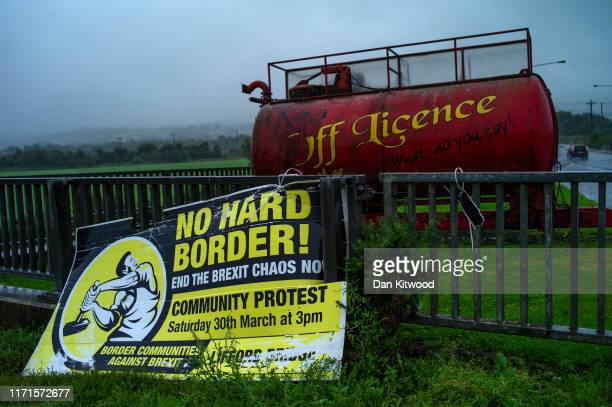 Sign on the Northern Irish side of the River Finn, against the idea of a Hard Border on August 30, 2019 in Strabane, Northern Ireland. The 310m/500...