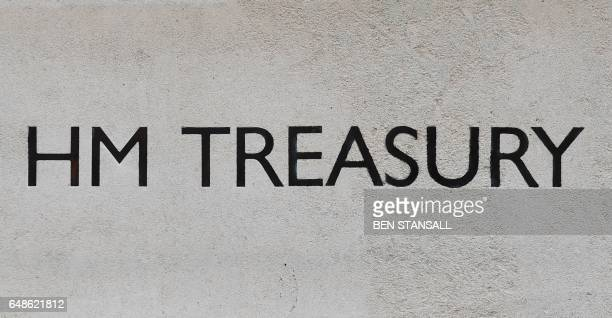 A sign on the Treasury building is seen in central London on March 6 2017 British Chancellor of the Exchequer Philip Hammond has said he will keep...