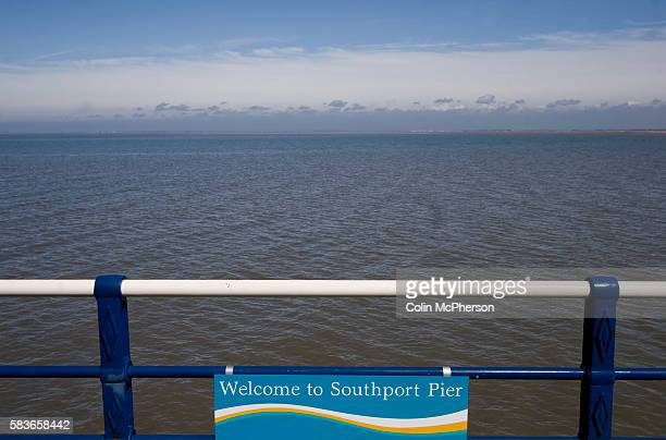 Sign on the Victorian pier in Southport, Britain's second-longest. Located on the Irish Sea coast situated in the Metropolitan Borough of Sefton, on...