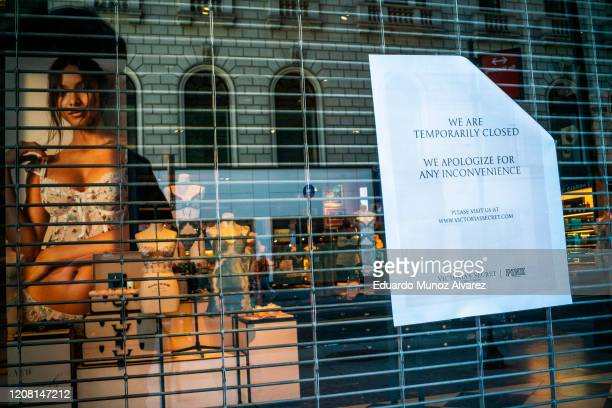 Sign on The Victoria's Secret store notifies closure due to the coronavirus on March 24, 2020 in New York City. New York City has about a third of...