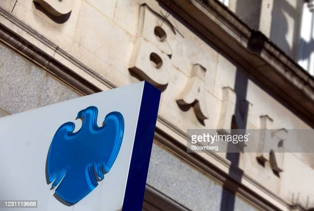 Sign outside a Barclays Bank Plc bank branch in Egham, U.K., on Friday, Feb. 12, 2021. The U.K. Economy grew at double the pace expected in the...