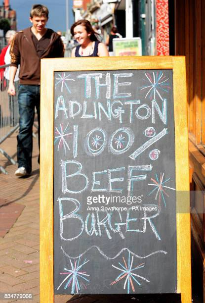 A sign outside a butcher's shop advertising the Adlington burger in Mansfield
