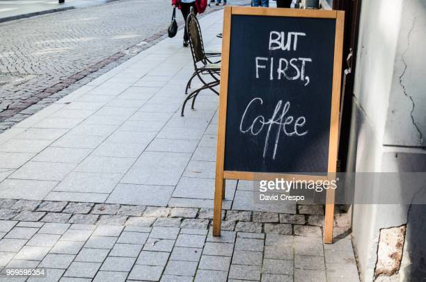 sign outside a cafe (horizontal) - menu stock pictures, royalty-free photos & images