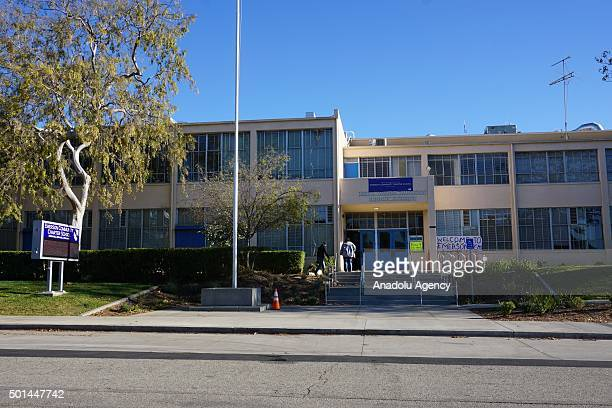 Sign outside Emerson Community Charter School is seen following a 'threat' to Los Angeles Unified School District schools in Los Angeles, California...