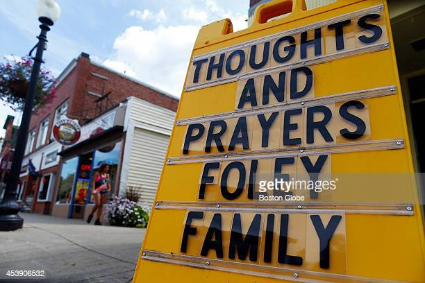 A sign outside of Collectiques is seen in slain journalist James Foley's hometown in Rochester New Hampshire August 20 2014