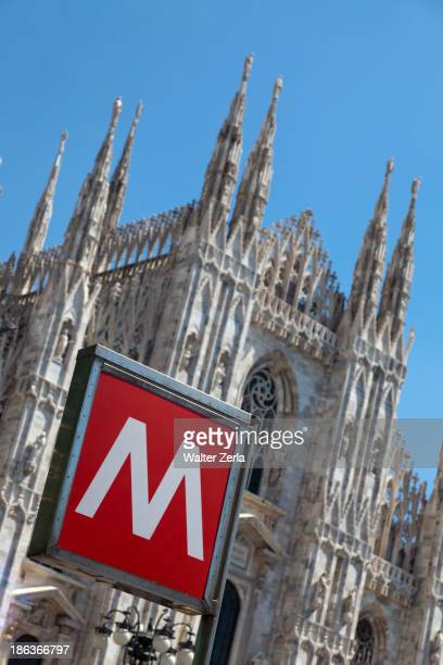 m' sign outside ornate church - letter m stock pictures, royalty-free photos & images