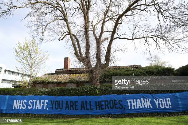 A sign outside Stoke Mandeville hospital thanking the NHS staff on April 08 2020 in Aylesbury England There have been around 50000 reported cases of...